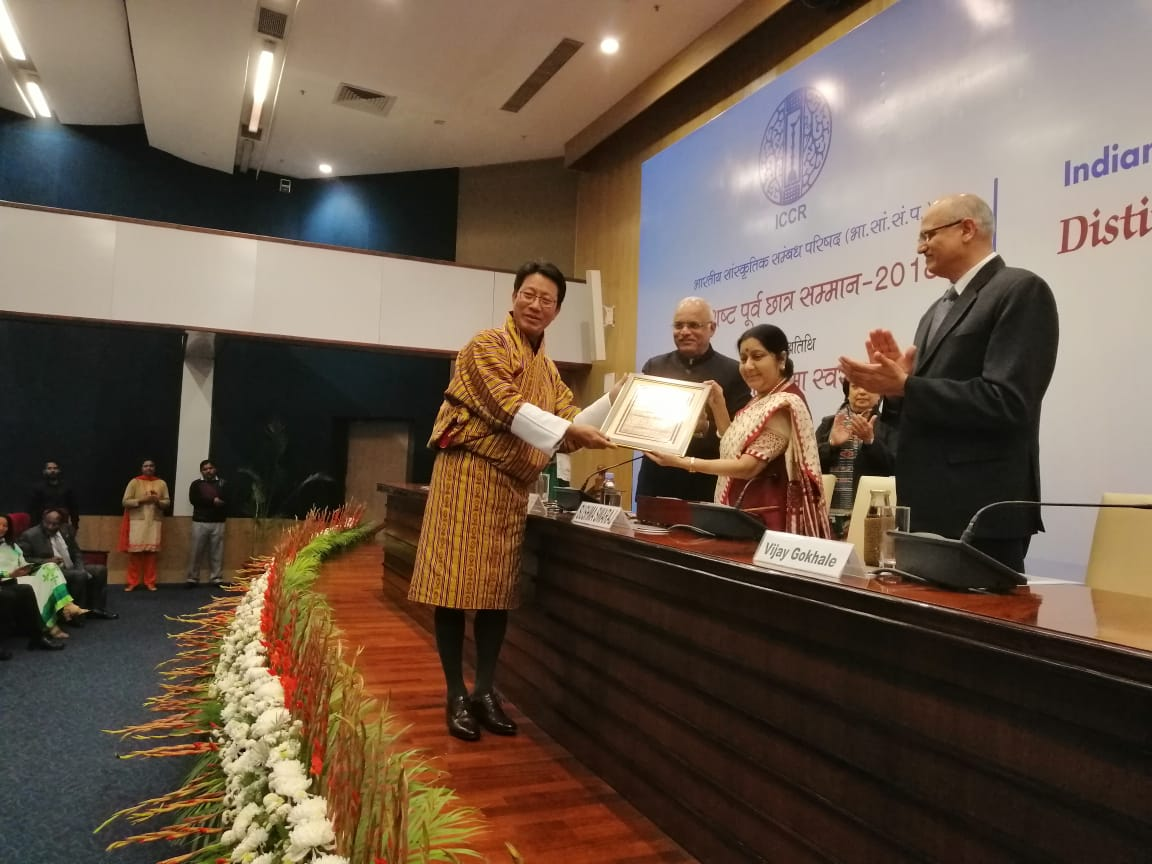 Lyonpo Damcho Dorji from Bhutan being confered the ICCR Distinguished Alumni Award by External Affairs Minister Sushma Swaraj along with ICCR President Dr. Vinay Sahasrabuddhe, Foreign Secretary Vijay Gokhle and Director General Riva Ganguly Das at a ceremony in C.B. Muthamma Hall, Jawaharlal Nehru Bhavan, New Delhi. Photo courtesy: ICCR