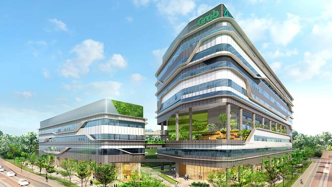 Artist impression about the new headquarters of Grab which will be constructed at a cost of SGD181.2 million. Photo courtesy: Grab/Ascendas Reit