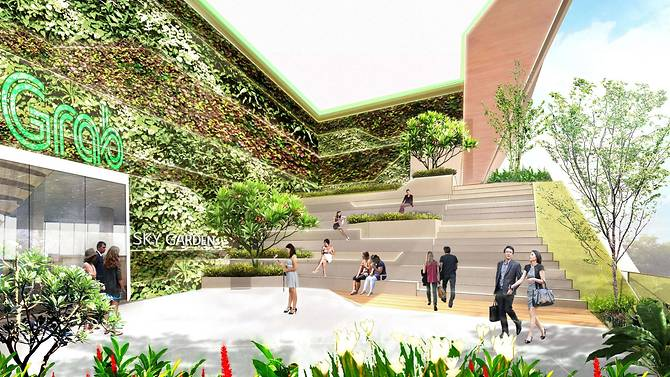 Artist's impression of the sky terrace of Grab's new headquarters. Photo courtesy: Grab/Ascendas Reit