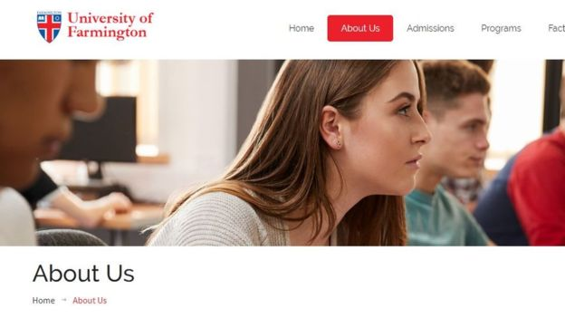 A screenshot of the University of Farmington website. Photo courtesy: FIH