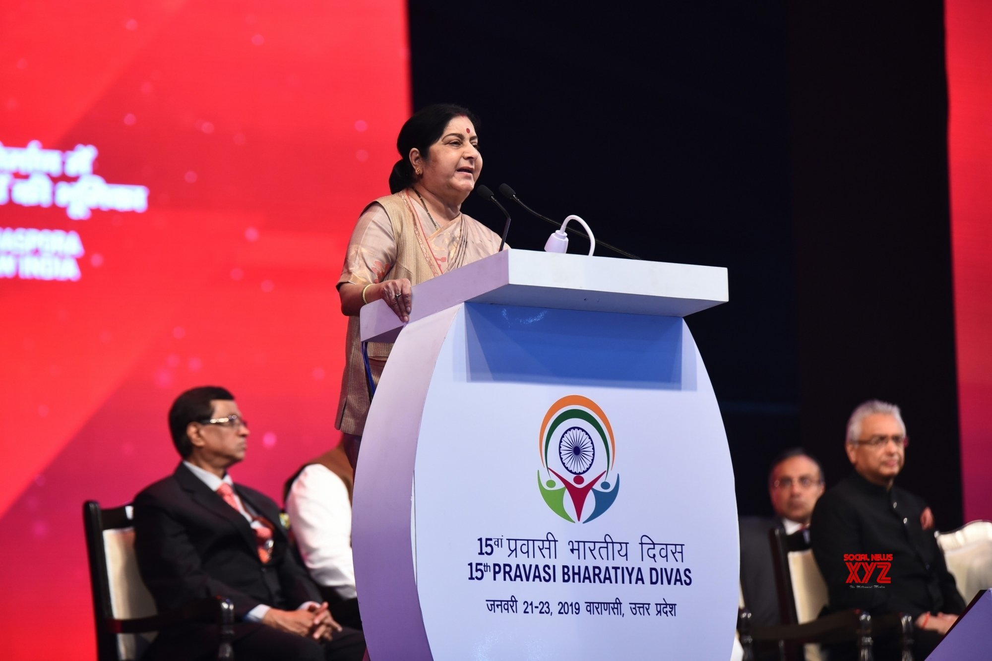 Minister of External Affairs Sushma Swaraj at Pravasi Bharatiya Divas PBD 2019 at Varanasi. Photo courtesy: Twitter/@MEAIndia