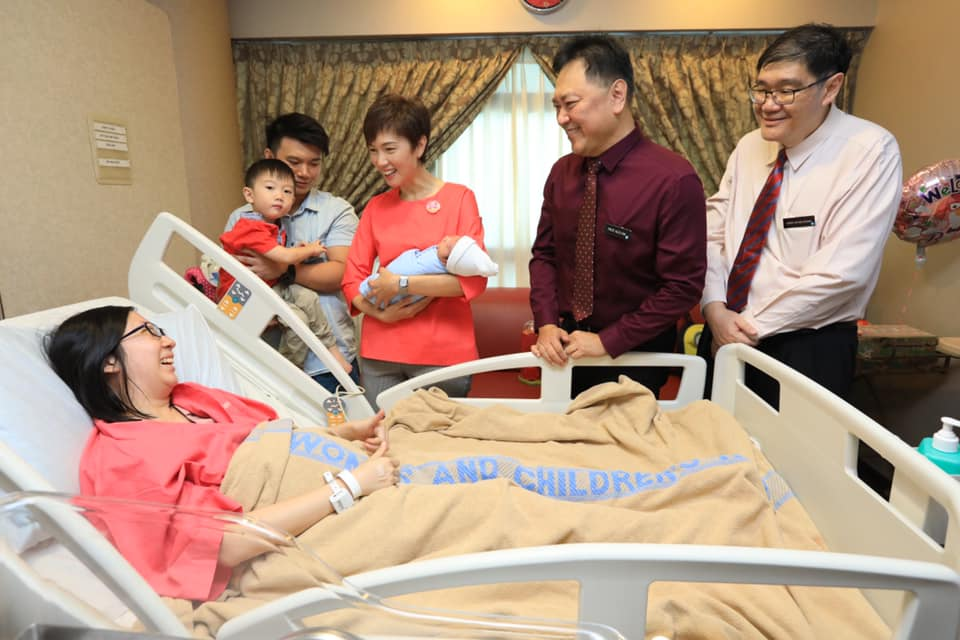Josephine Teo, Manpower Minister of Singapore interacting with a patient during visit to KK Women's and Children's Hospital (KKH) on the occasion of Chinese New Year. Photo courtesy: Facebook page of Josephine Teo
