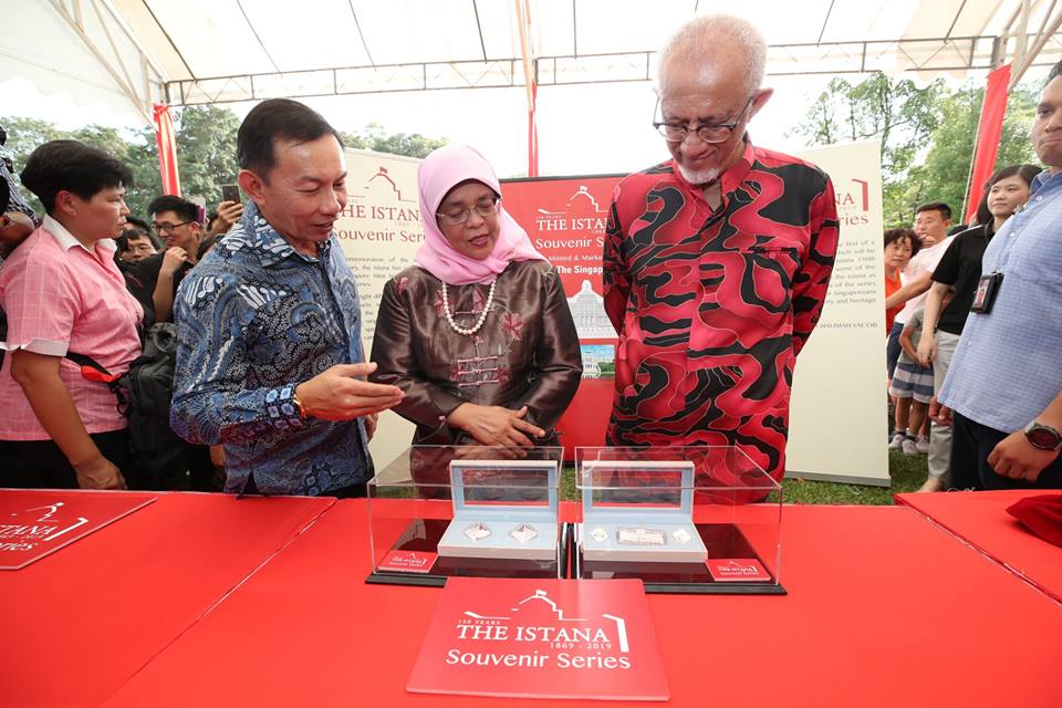 President of Singapore Halimah Yacob launching Istana Souvenir Series Official Medallions at the Open House in commemoration of the Istana 150th anniversary. Photo courtesy: Facebook page of President Halimah