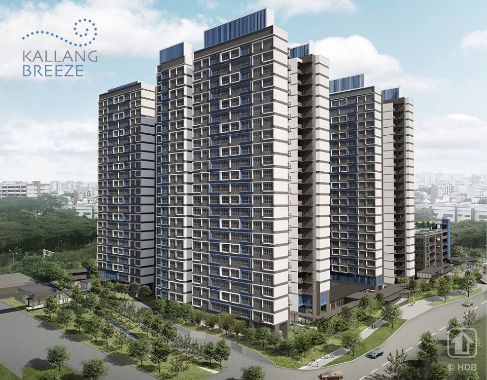 Kallang Breeze comprises 2 residential blocks that are 23 storeys high, and offers 411 units of 3- and 4-room flats. Located near the Kallang River, 'Kallang Breeze' residents will enjoy a cool and comfortable living environment. Photo courtesy: Facebook page of HDB