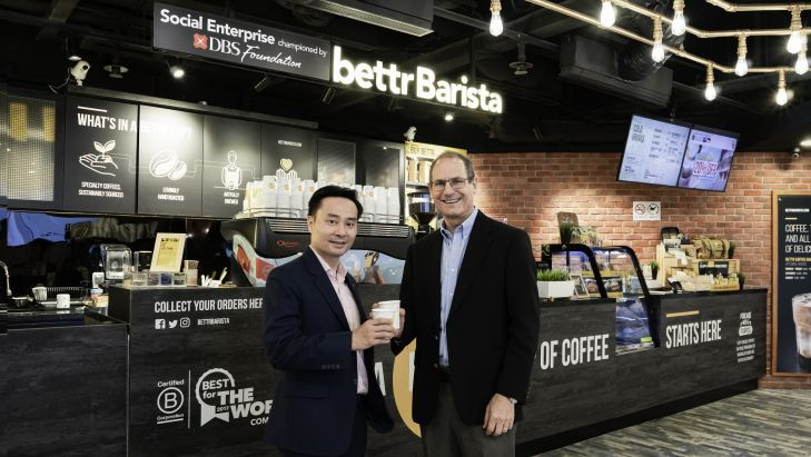 SMU Vice Provost (Research) Professor Steven Miller and DBS Singapore Country Head Shee Tse Koon met at DBS-supported social enterprise Bettr Barista to discuss the details of the multi-faceted DBS-SMU Sustainability Initiative. Photo courtesy: SMU