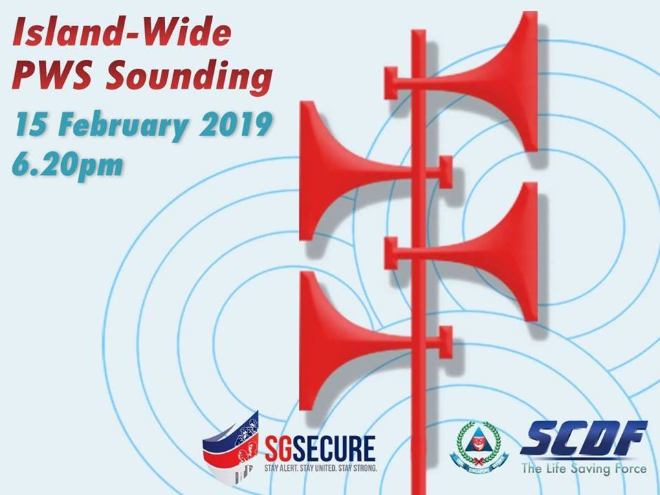 Singapore Civil Defence Force (SCDF) will sound the 'Important Message' signal through Public Warning System (PWS) sirens islandwide at 6.20pm on February 15. Photo courtesy: Facebook page of SCDF