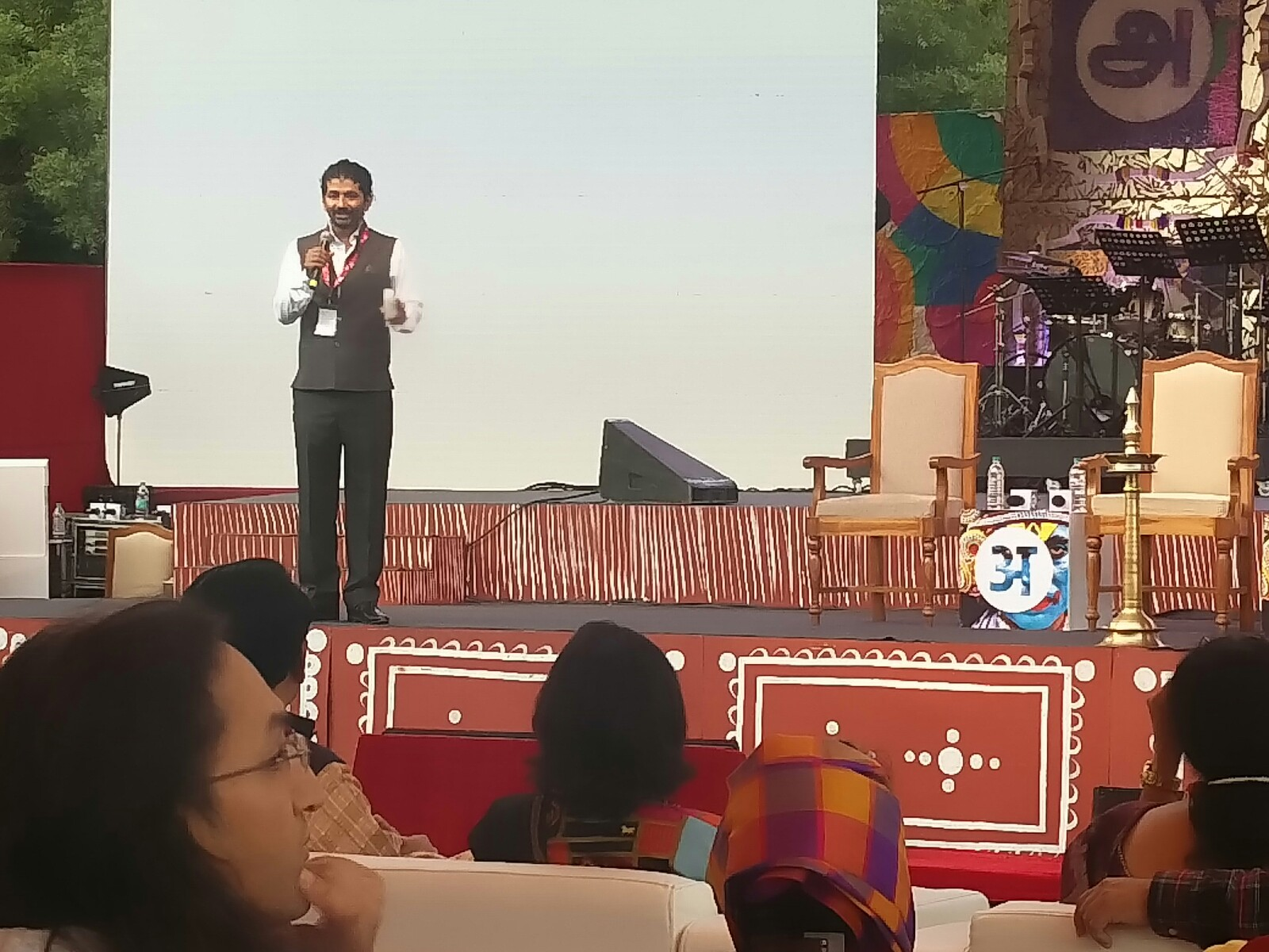 Nikhil Singh Rajput, maker of the documentary Blood Buddhas, onstage at Arth Culture Fest. Photo: Connected to India