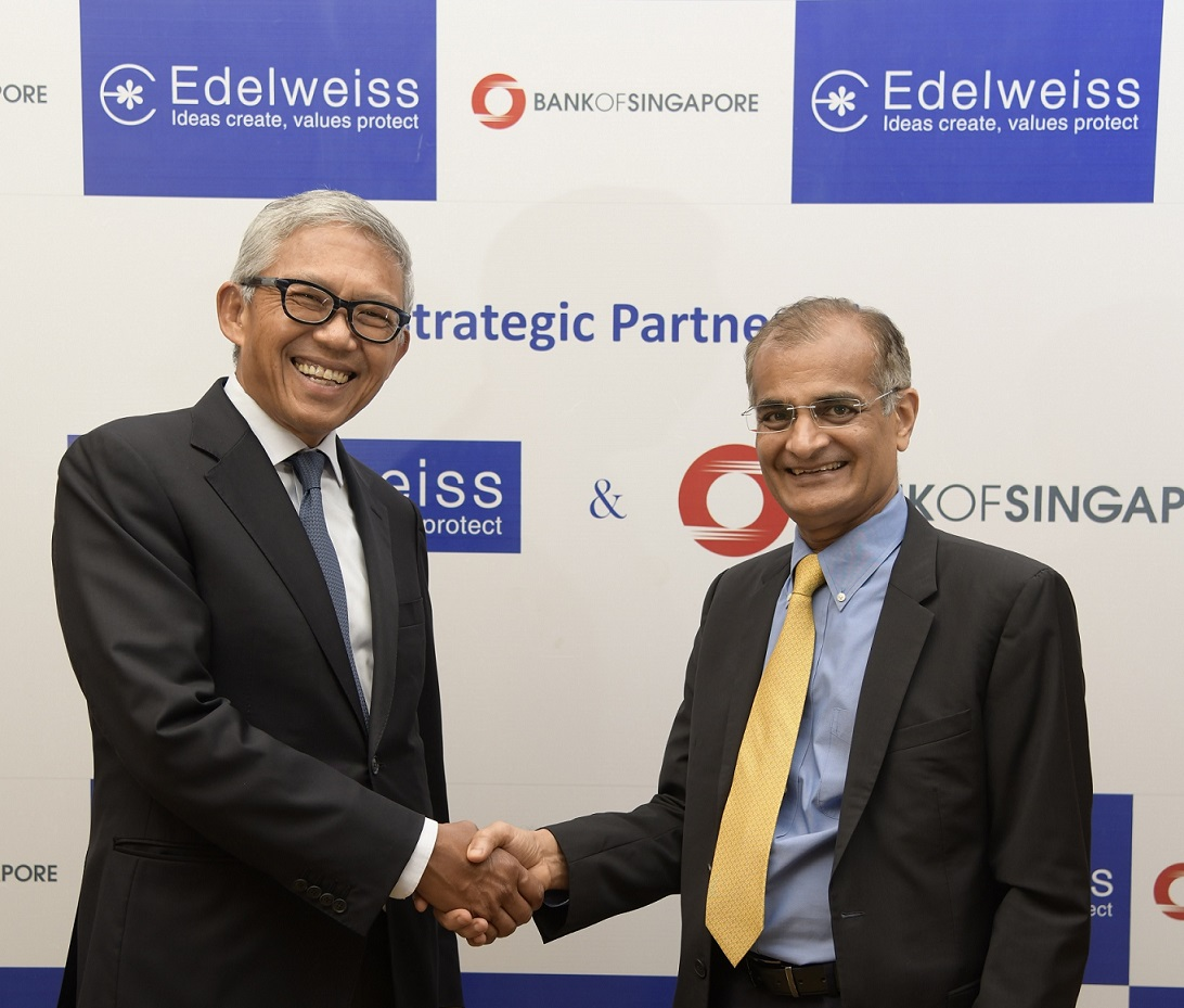 Bahren Shaari, Chief Executive Officer, Bank of Singapore (left) with Rashesh Shah, Chairman and CEO, Edelweiss Group at the Memorandum of Understanding signing ceremony. Photo courtesy: Bank of Singapore