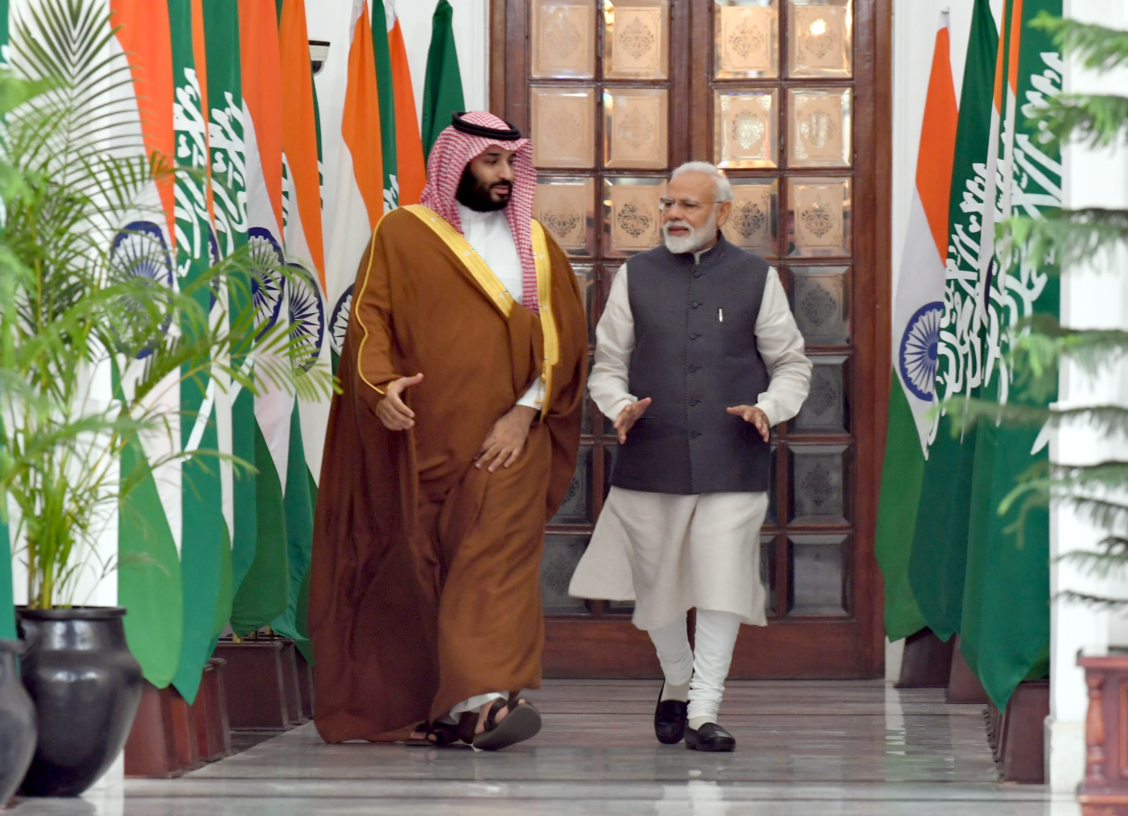 Prime Minister Narendra Modi with the Crown Prince, Vice President of the Council of Ministers of Defence of the Kingdom of Saudi Arabia, Prince Mohammed Bin Salman Bin Abdulaziz Al-Saud, at Hyderabad House, in New Delhi on February 20, 2019. Photo courtesy: PMO