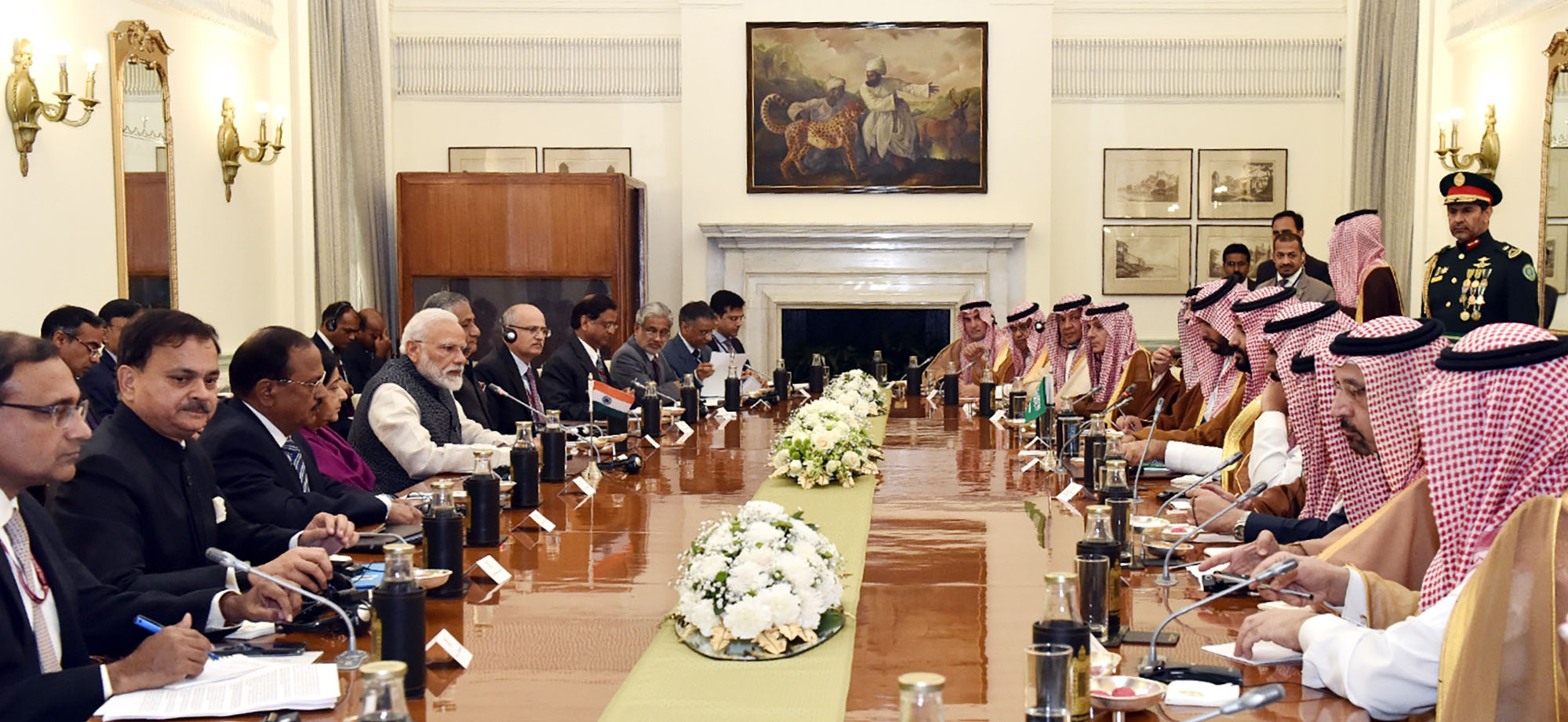Prime Minister Narendra Modi with the Crown Prince, Vice President of the Council of Ministers of Defence of the Kingdom of Saudi Arabia, Prince Mohammed Bin Salman Bin Abdulaziz Al-Saud,  at the delegation level talks at Hyderabad House, in New Delhi on February 20, 2019. Photo courtesy: PMO