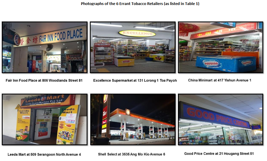 Photographs of the six errant retailers against whom action has been taken by Health Sciences Authority (HSA) of Singapore. Photo courtesy: HSA