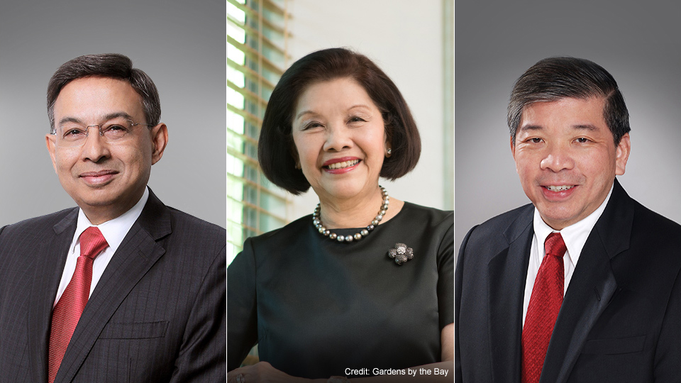 Mr Gautam Banerjee (left), Mrs Theresa Foo (centre) and Mr Teo Siong Seng (right) have been appointed as NUS Pro-Chancellors. Photo courtesy: NUS