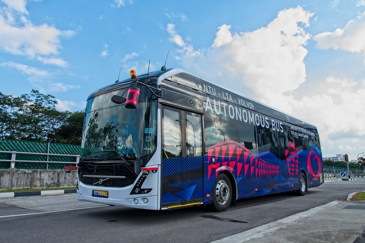 Nanyang Technological University and Volvo Buses launched the world's first full size, autonomous electric bus in Singapore today. Photo courtesy: NTU
