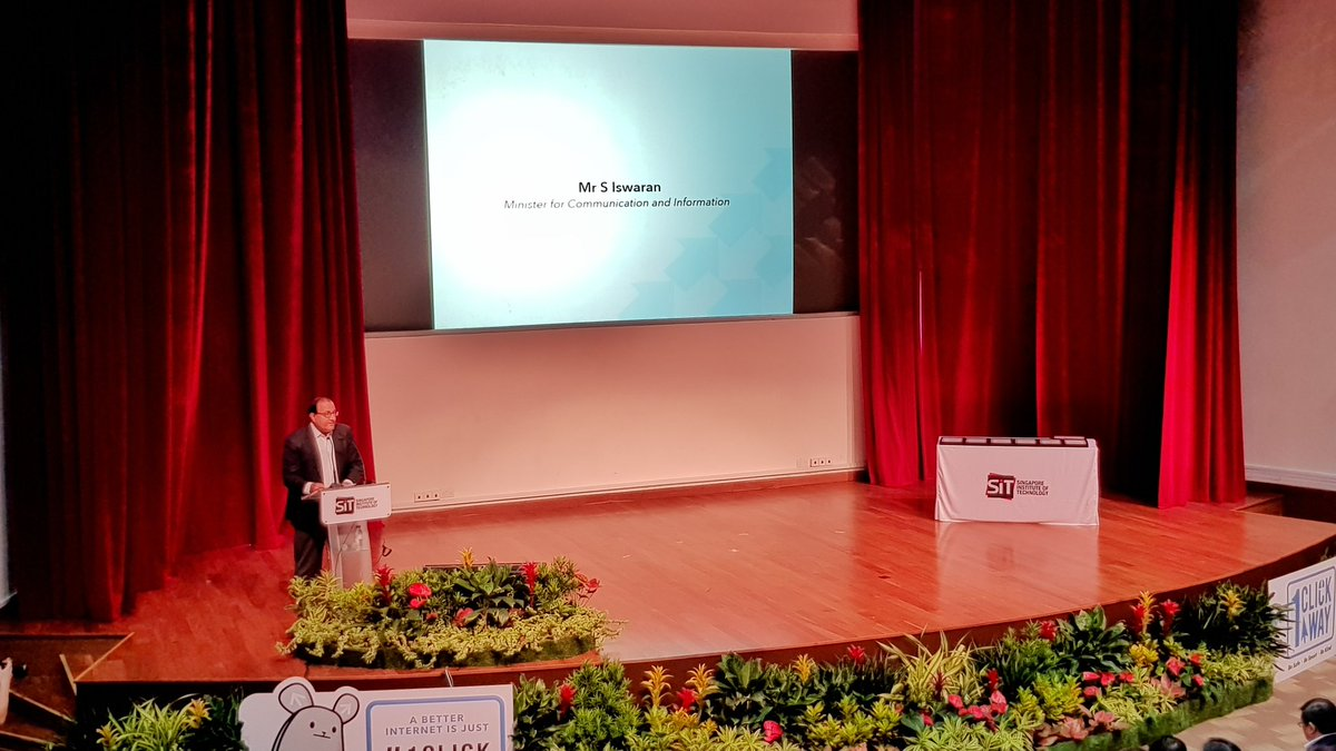 S Iswaran, Minister for Communications and Information of Singapore speaking at the inaugural 'Better Internet Conference' organised at the Singapore Institute of Technology. Photo courtesy: Twitter@MediaLiteracyCouncil