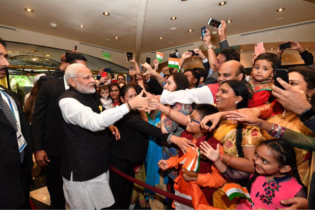 Prime Minister Narendra Modi at community reception in Buenos Aires, Argentina. Indian government's proactive outreach and relaxed voting rules has triggered enthusiasm among the NRIs around the world to take part in Indian political process. Photo courtesy Ministry of External Affairs