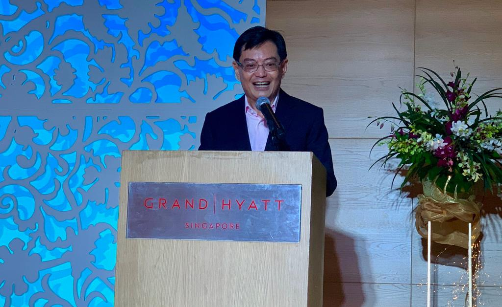 Finance Minister of Singapore Heng Swee Keat addressing guests during the launch of a food heritage book at Grand Hyatt in Singapore. Photo: Connected to India