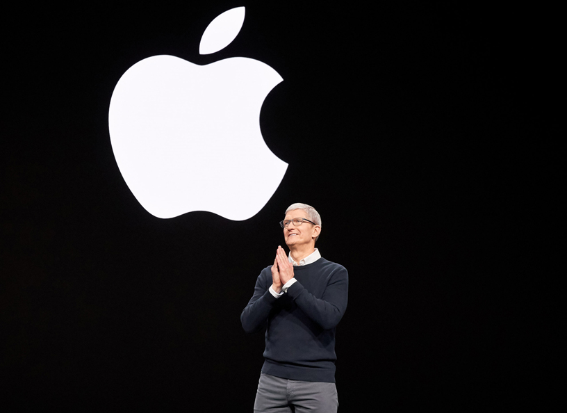 Chief Executive Officer of Apple, Tim Cook, announcing the new video streaming and news service of Apple. Photo courtesy: Apple