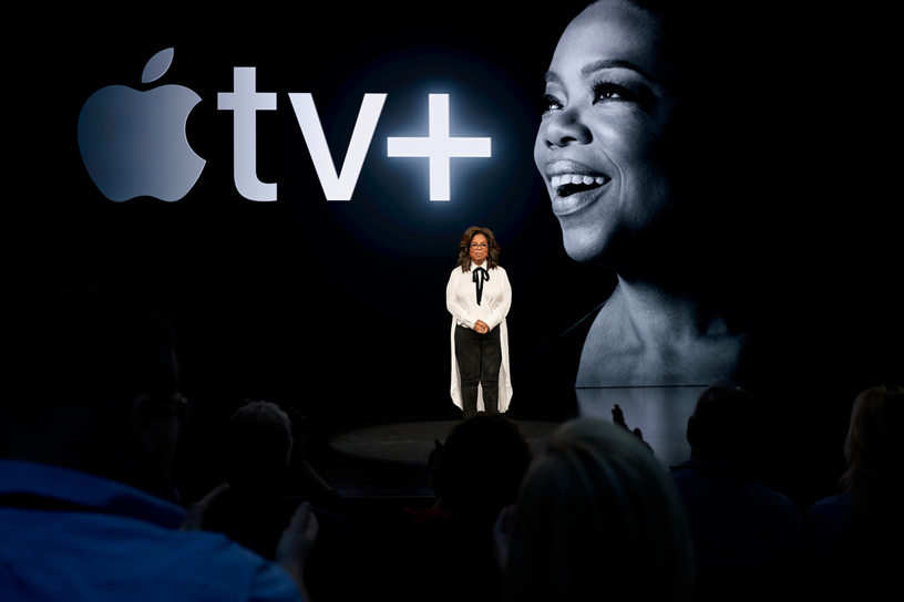 TV host Oprah Winfrey speaking to audience at the packed  Steve Jobs Theatre on Apple's campus in Silicon Valley. Photo courtesy: Apple