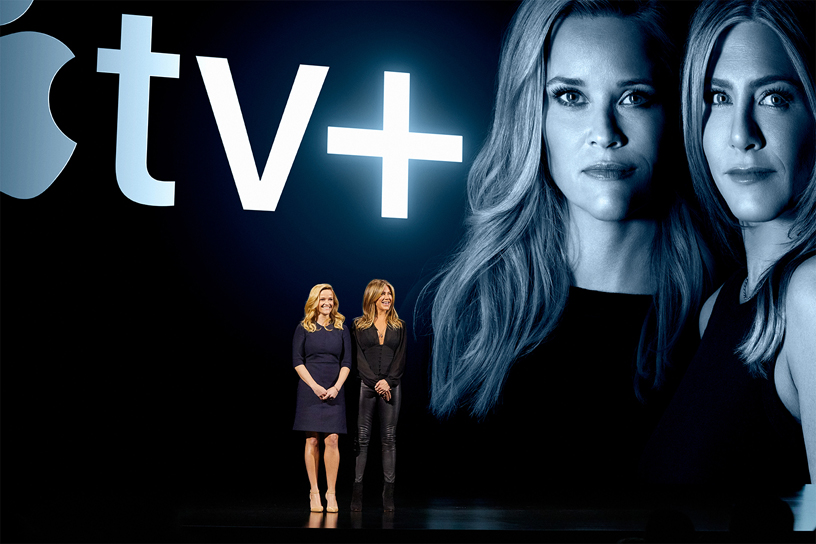 Hollywood stars Reese Witherspoon and Jennifer Aniston on stage at Steve Jobs Theater. Photo courtesy: Apple