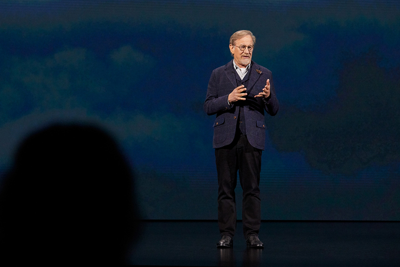 Director Steven Spielberg explains his creative process on stage at Apple's March 2019 event. Photo courtesy: Apple