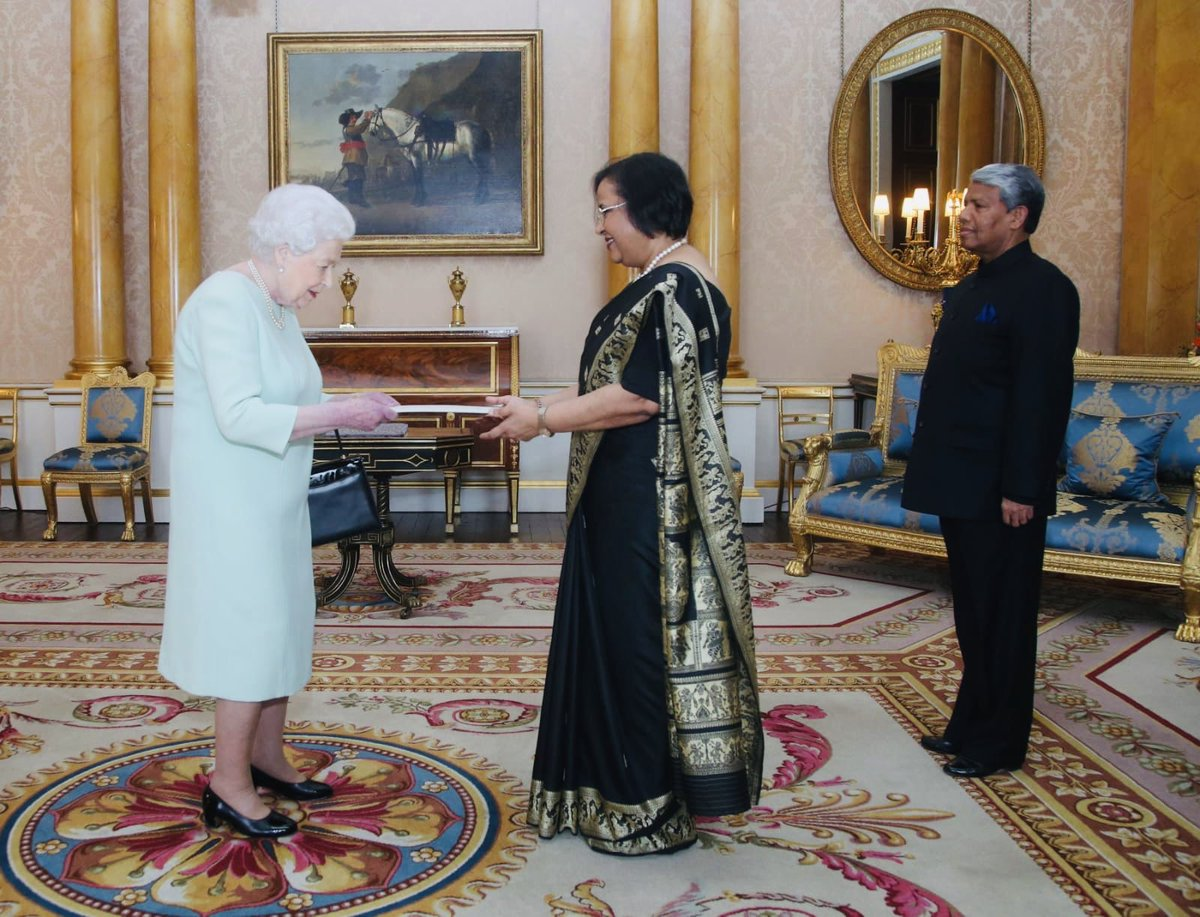 The 92-year-old monarch received Ghanashyam at Buckingham Palace for the presentation of letters of credence ceremony