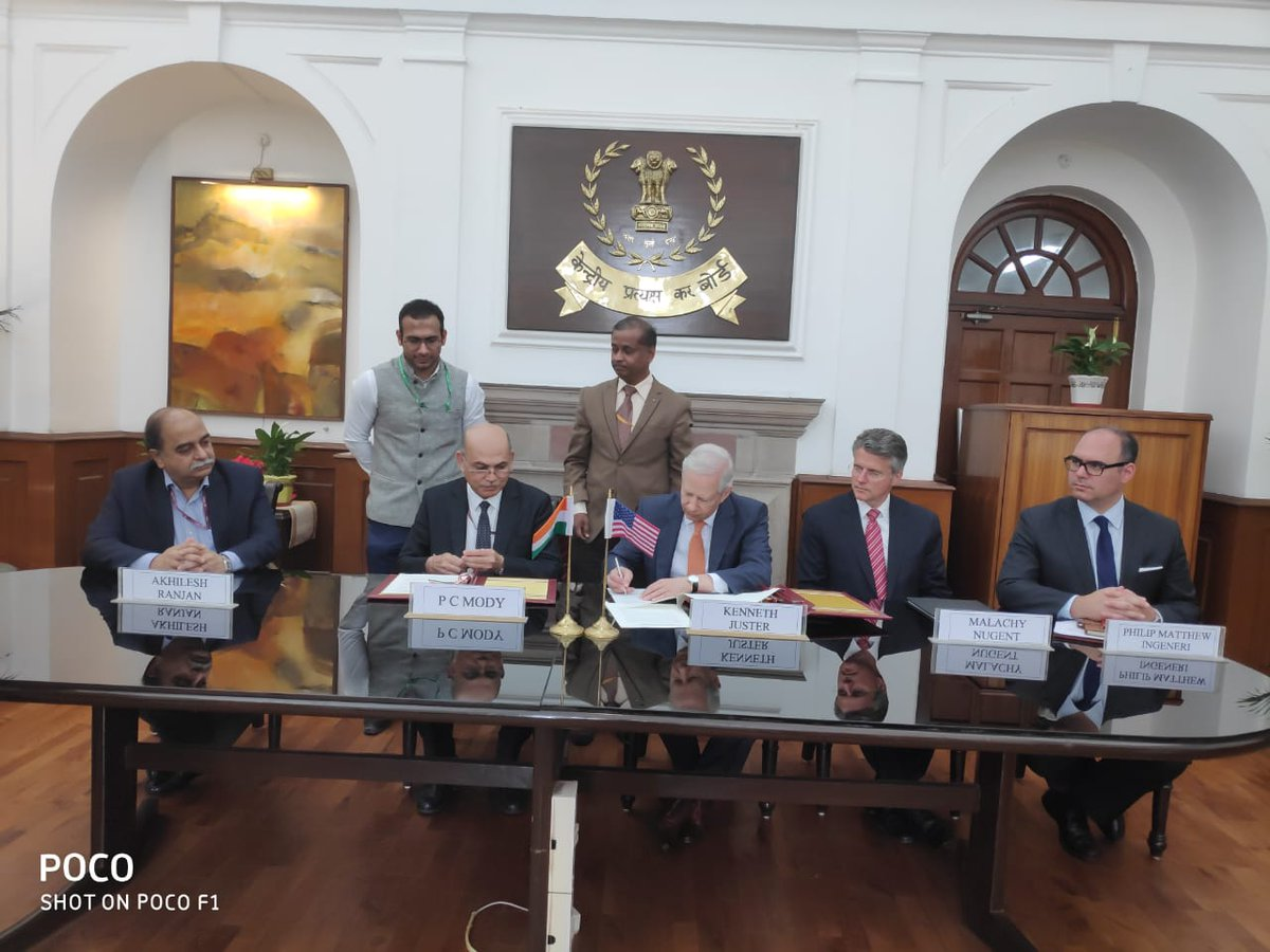 India and US signed Inter-Governmental Agreement for the exchange of Country by Country (CbC) Reports on automatic basis. Photo courtesy Ministry of Finance
