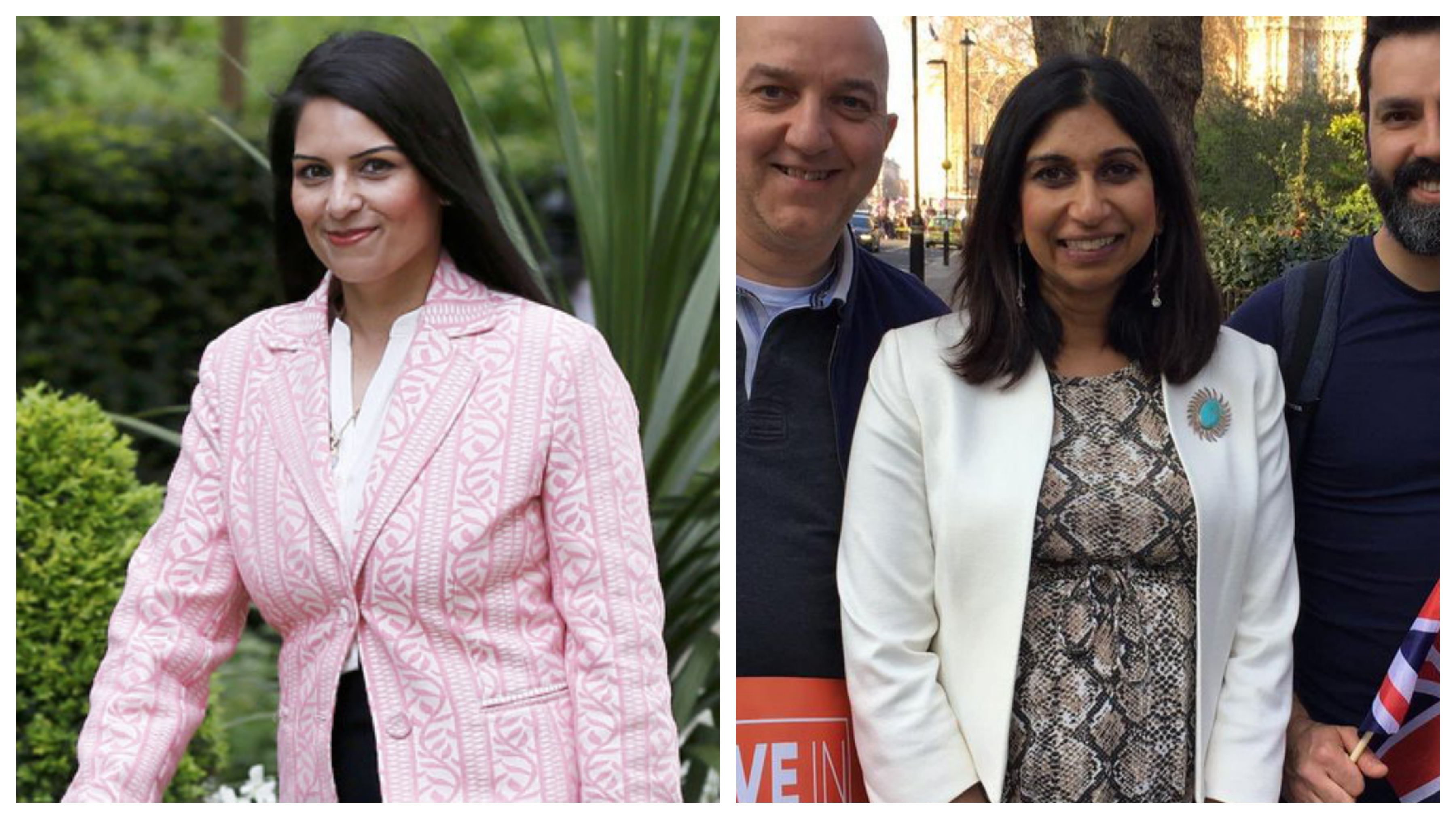 Indian-origin MPs Priti Patel (left) and Suella Braverman are among a steadfast group of hard-Brexiteer Conservatives holding out against the deal negotiated by the Theresa May government with the EU. Photo courtesy: Twitter