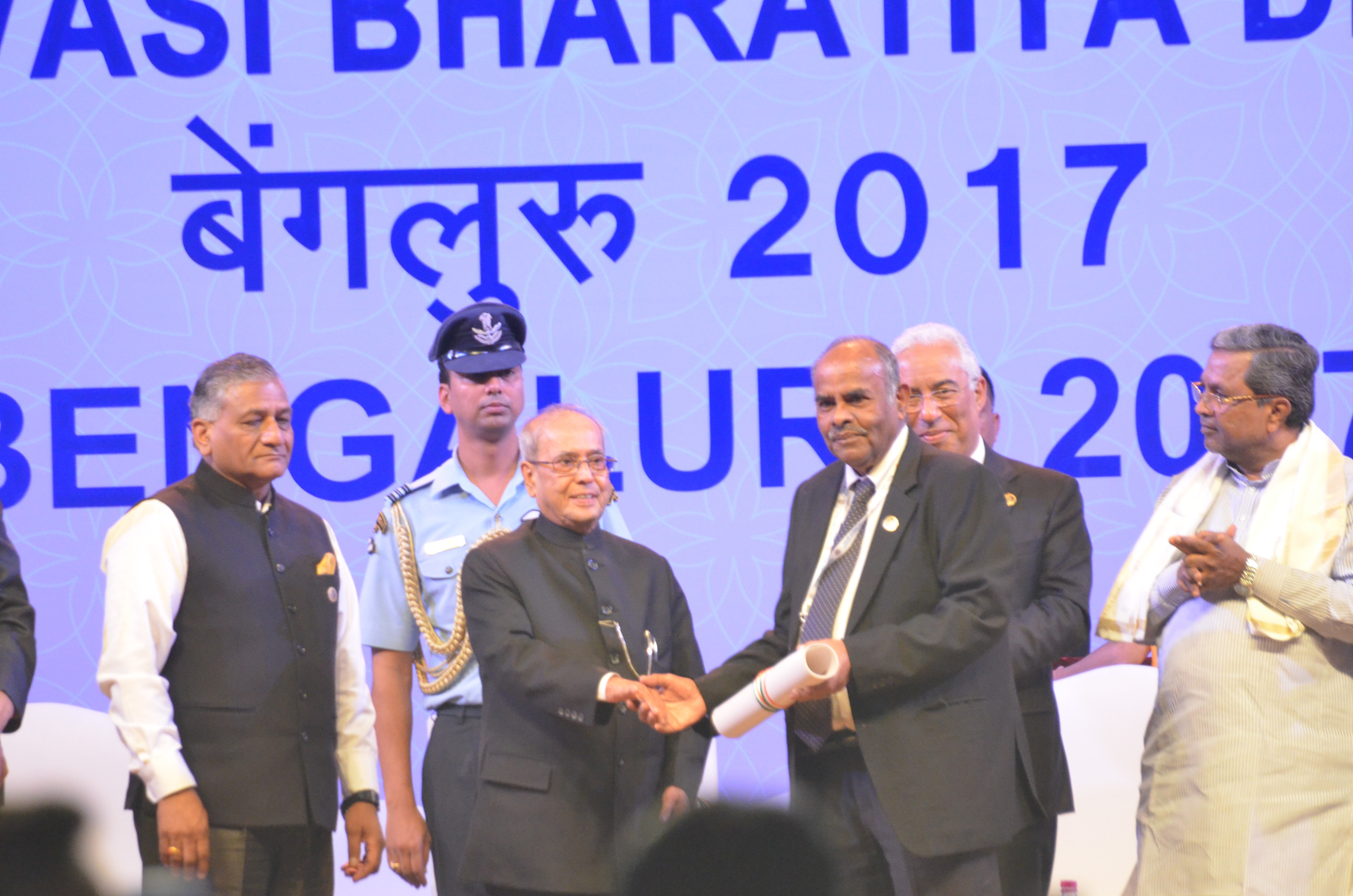 Singapore Indian Association (SIA) was awarded the prestigious Pravasi Bharatiya Samman Award (PBSA) on January 9, 2017 at the Pravasi Bharatiya Divas in Bengaluru for its contribution to the Indian community in Singapore. K Kesavapany, President of SIA went to Bengaluru to receive the award from then President of India Pranab Mukherjee. Photo: Connected to India