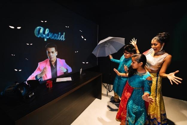 Guests can test their acting chops in front of a holographic projection of exclusive celebrity content from Karan Johar as their family and friends watch on through a live feed outside the audition room. The holographic projection includes prompts and coaching from Karan to visitors. Photo courtesy: Madame Tussauds