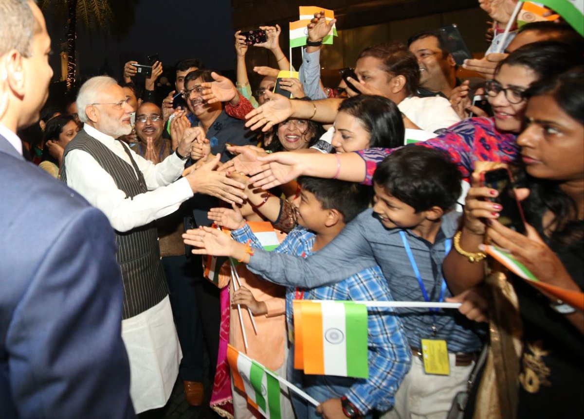 The globe-trotting Prime Minister Narendra Modi enjoys almost a celebrity status among the Indian diaspora