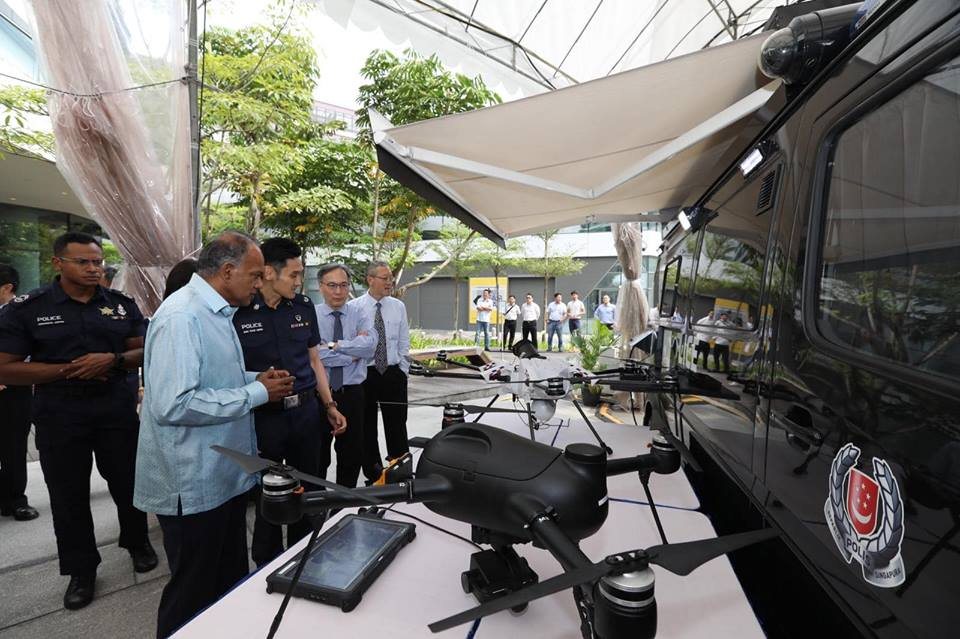 K Shanmugam, Singapore's Minister for Home Affairs and Law launching the Sky Aerial Response Command (ARC) during the Police Workplan Seminar. Photo courtesy: Facebook page of Singapore Police