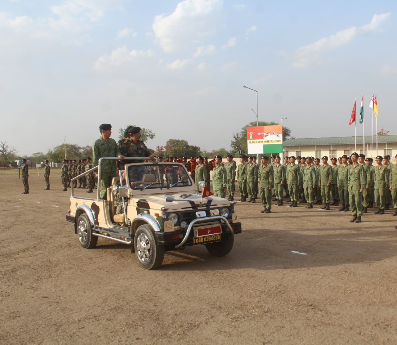 Brigade Commanders conducting joint review of the parade at the opening ceremony of India-Singapore joint army exercise at Babina Military station. Photo courtesy: Ministry of Defence, India
