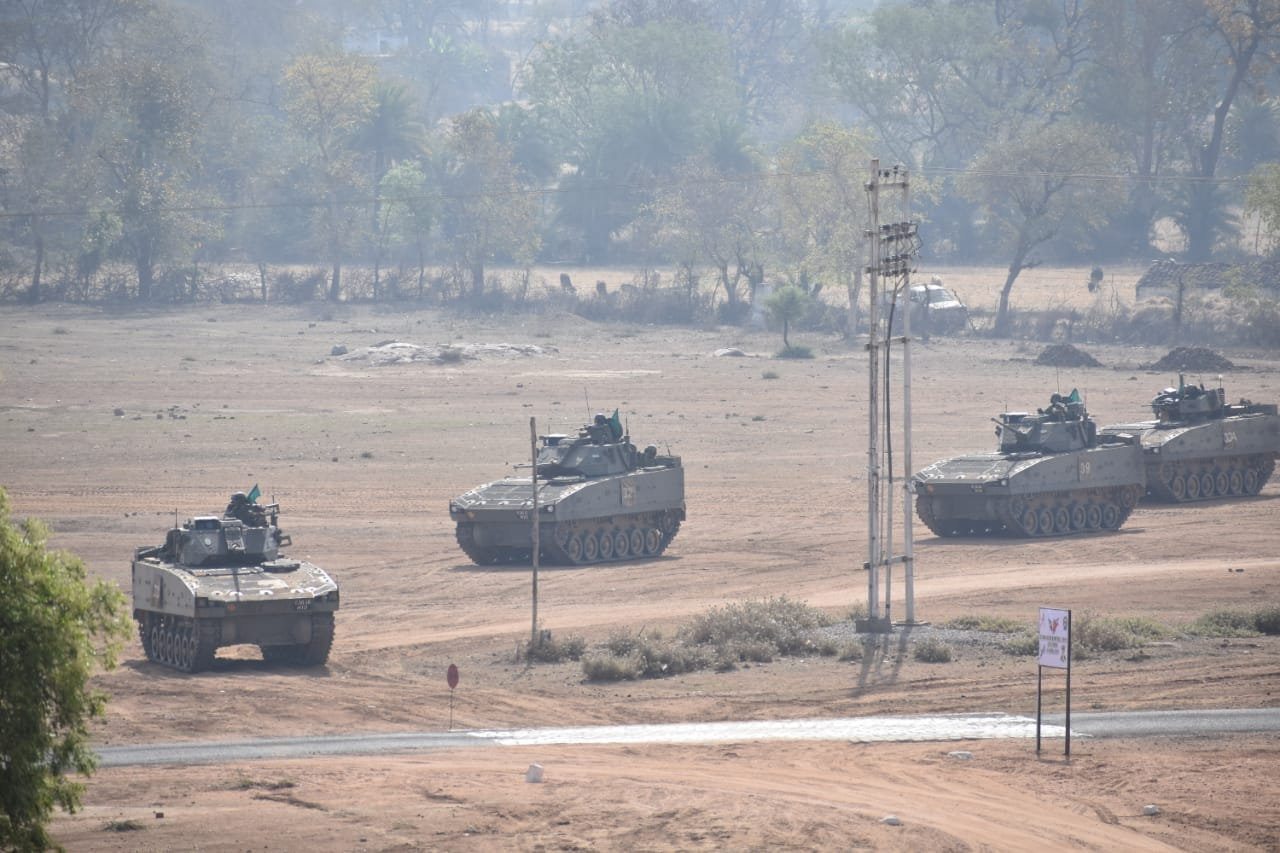 Armoured combat units of India and Singapore jointly undertook various challenging combat manoeuvres including live firing drills during four days of joint exercise. Photo courtesy: Ministry of Defence, India