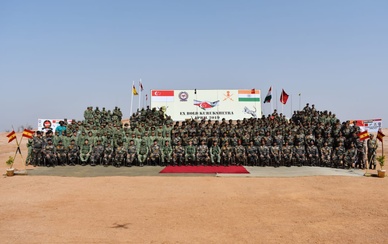Joint photograph of the Indian and Singapore army personnel who took part in the India-Singapore joint military exercise 'Bold Kurukshetra 2019' at Babina Military station. Photo courtesy: Ministry of Defence, India