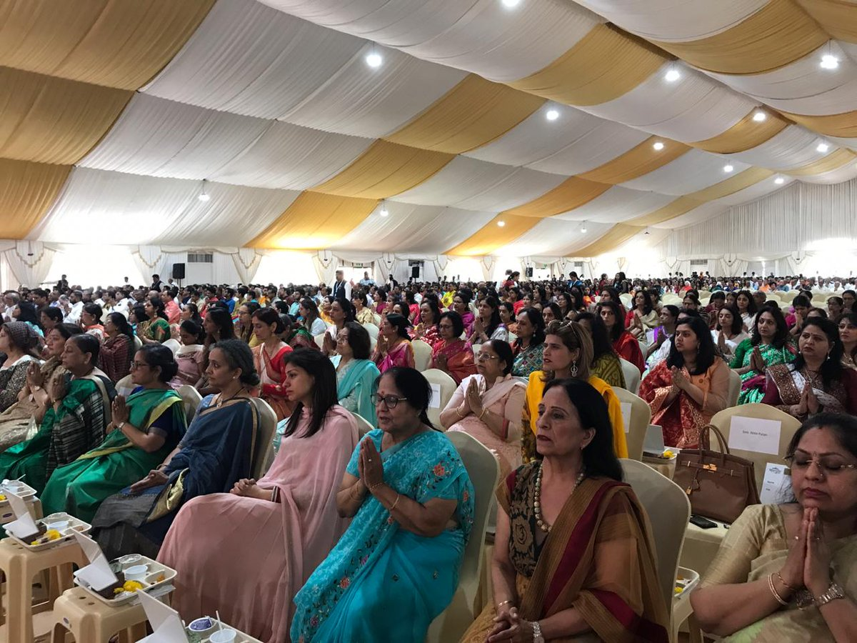 India diaspora watching foundation stone laying ceremony of Hindu temple in Abu Dhabi. Photo courtesy DD News