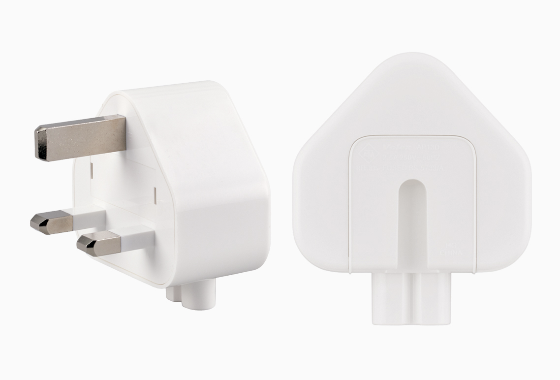 Customers can exchange their affected AC wall plug adapters (above) with a new adapter. Photo courtesy: Apple