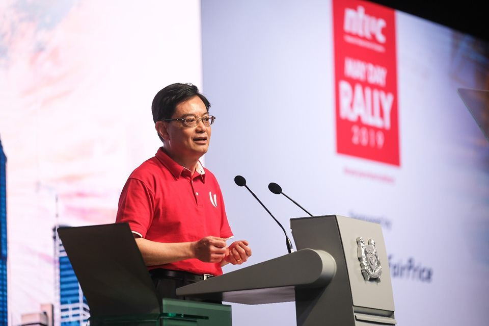 New Deputy Prime Minister of Singapore Heng Swee Keat speaking at the NTUC May Day Rally. Photo courtesy: Facebook page of People's Action Party (PAP)