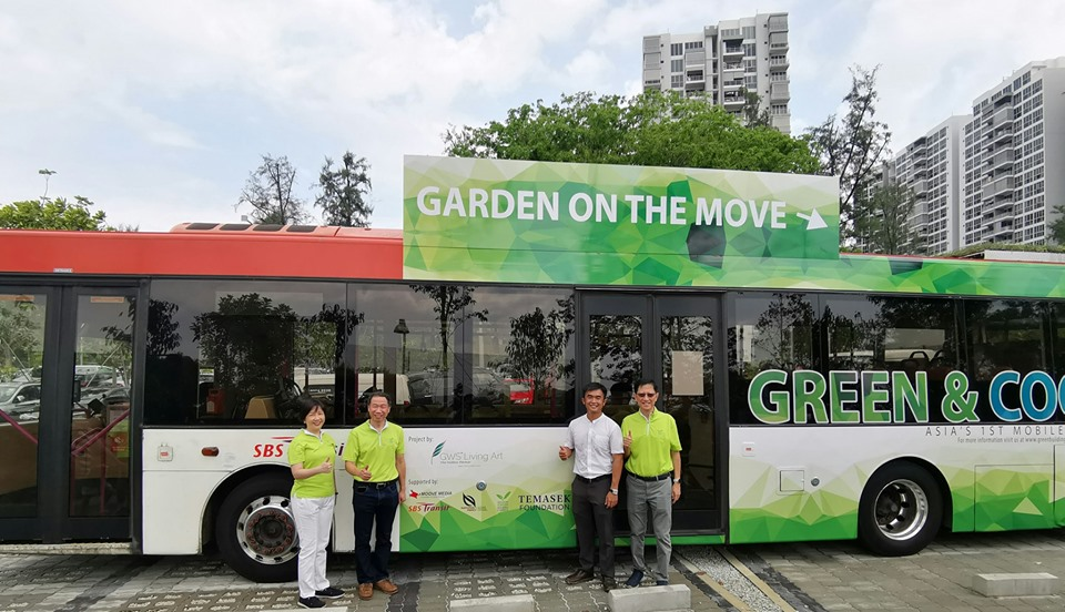 About 10 SBS Transit buses of Singapore have been fitted with rooftop gardens. Photo courtesy: Facebook page of Singapore Green Building Council (SGBC)