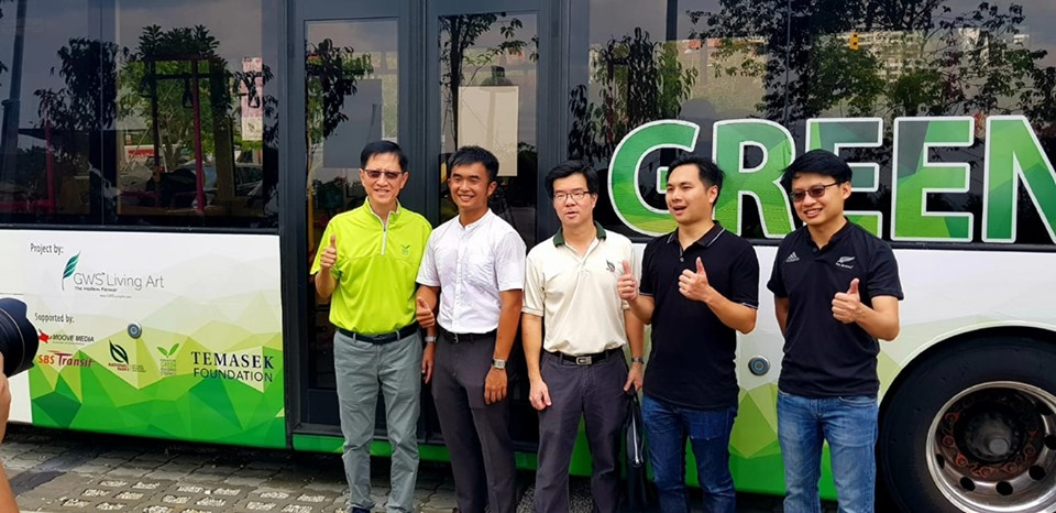 These buses are fitted with a soilless roof system - instead of conventional soil and the plants are secured on a lightweight mat used for skyrise greenery. Photo courtesy: Facebook page of SGBC