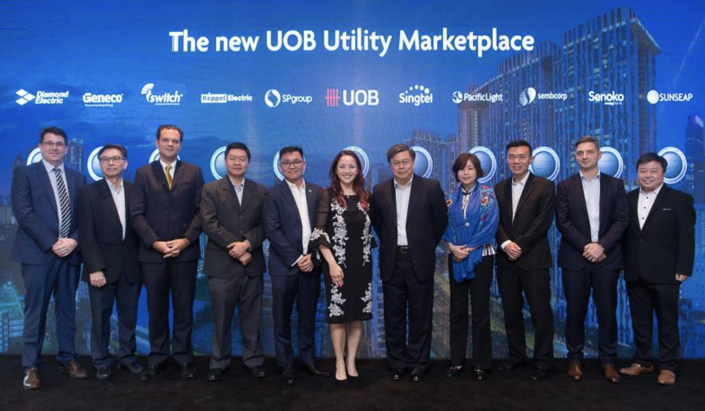UOB brings together Singapore's largest network of utility providers for the UOB Utility Marketplace. Ms Jacquelyn Tan, Head of Personal Financial Services Singapore, UOB (centre) with the 10 utility partners at the launch of the UOB Utility Marketplace. Photo courtesy: UOB