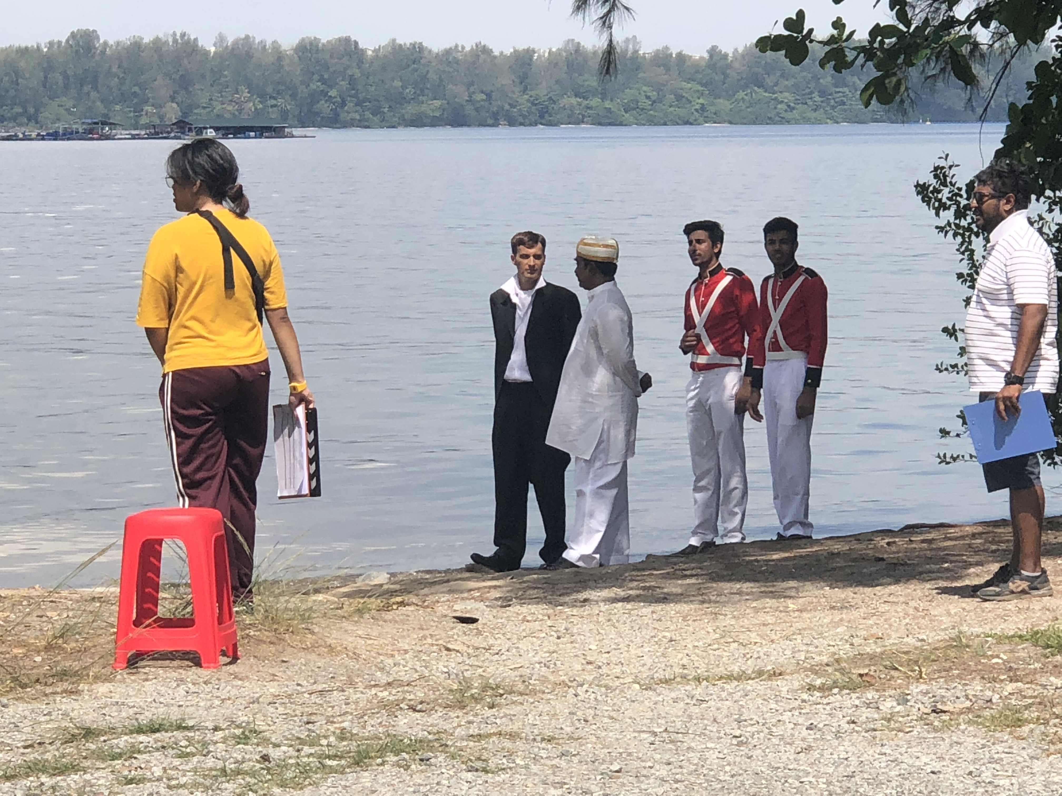 Shooting a scene with Sir Thomas Stamford Raffles (left) and Naraina Pillai (2nd from left) and some Sepoys. Apart from being a businessman and a close friend of Raffles', Pillai was also helping the latter in the British administration of Penang. Photo courtesy: VisualBeatz