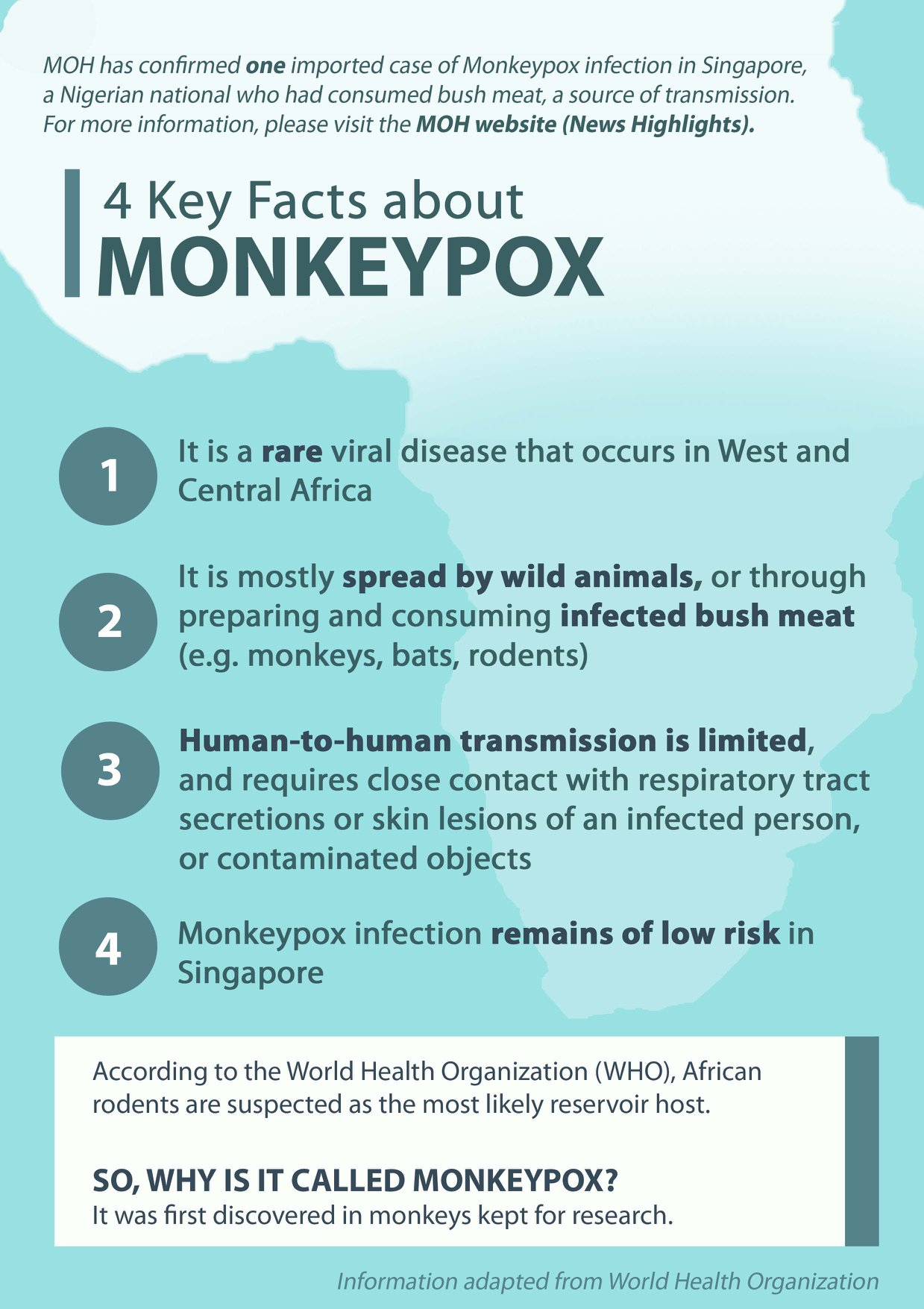 Infographic on monkeypox. Photo courtesy: Ministry of Health, Singapore