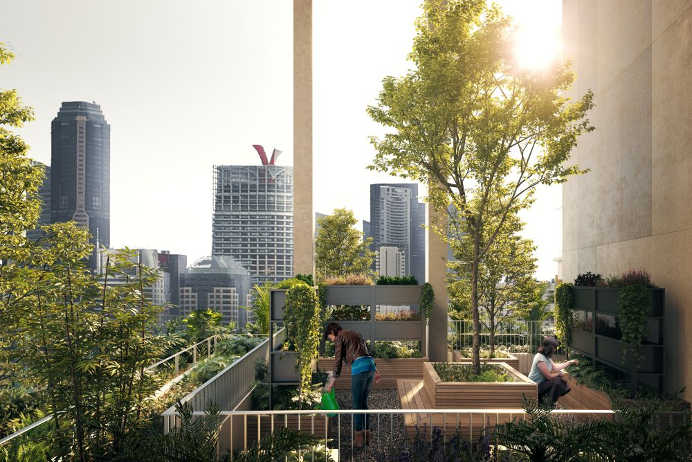 One Pearl Bank will feature a world-first – a series of sky allotment gardens arrayed vertically at one edge of each tower. Photo courtesy: Capitaland