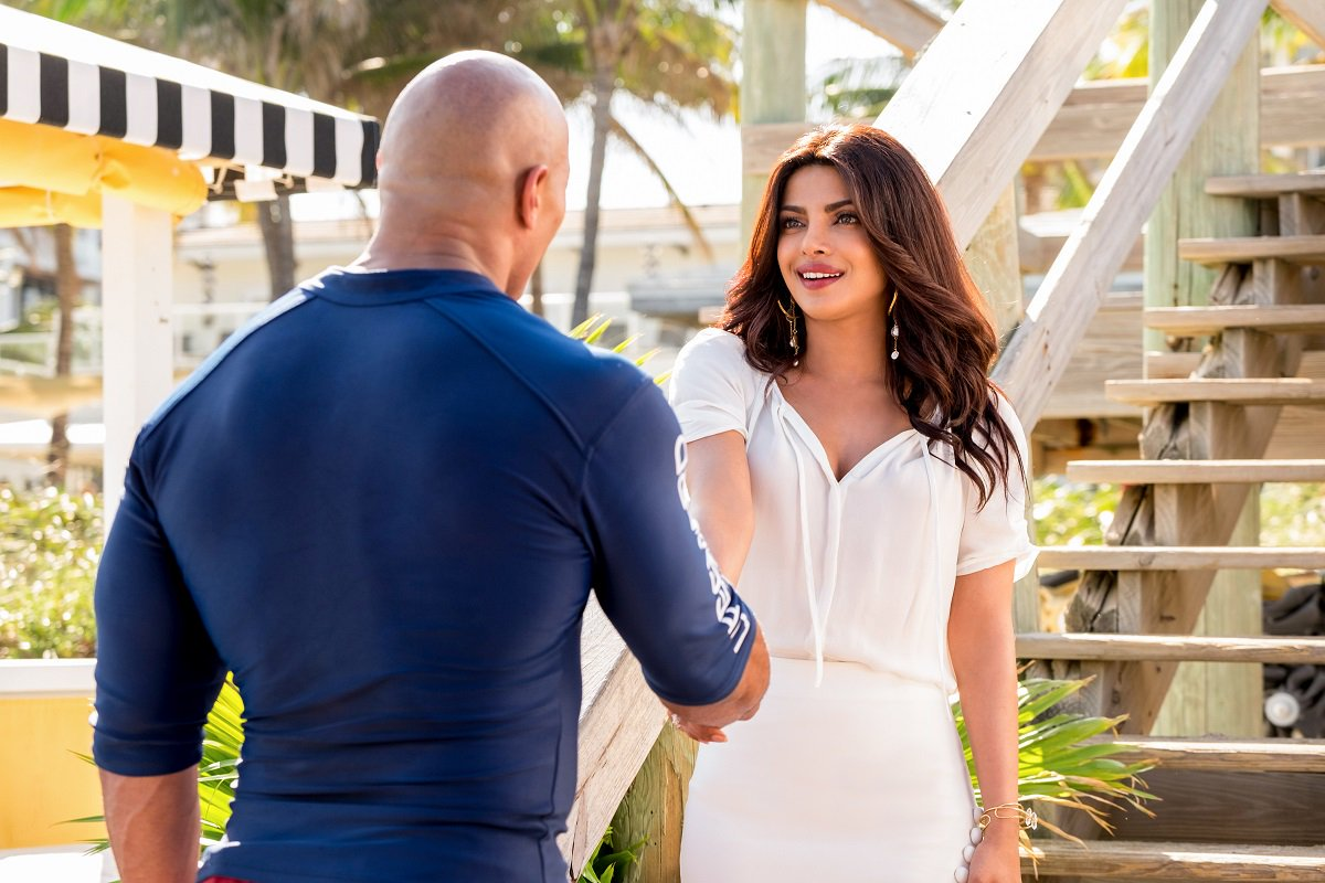 Priyanka Chopra and Dwayne Johnson aka The Rock of WWE fame in 'Baywatch'. Photo Courtesy Priyanka Daily, Twitter