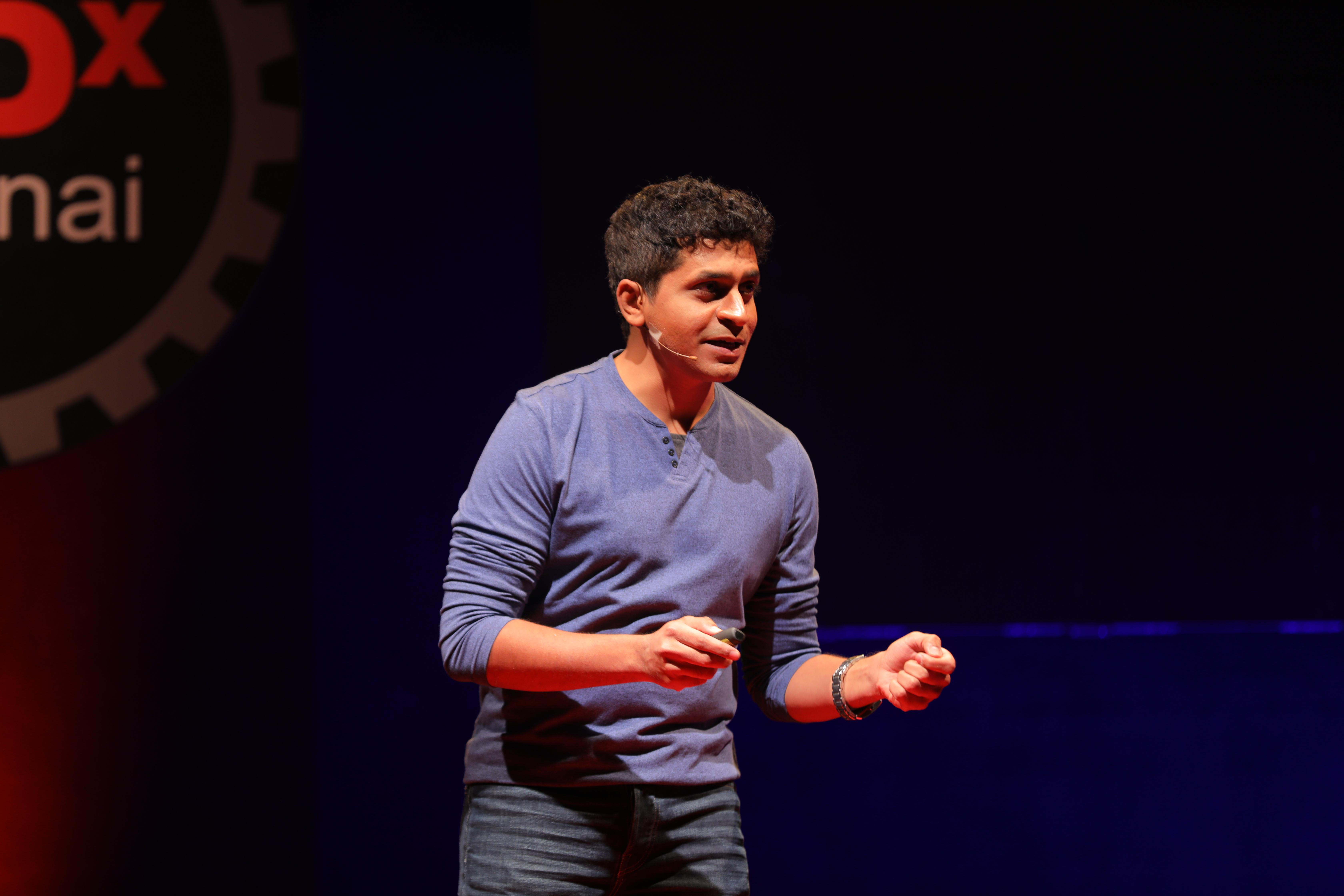 Sairam Emani speaking about the importance of classical arts at the prestigious Tedx platform. Photo courtesy: IndianRaga
