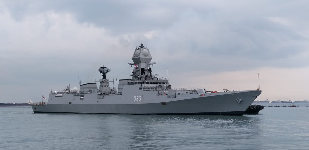 Indian Navy's INS Kolkata and INS Shakti arrive in Singapore to participate in the IMDEX 2019 and 26th annual bilateral exercise SIMBEX 2019. Photo courtesy Indian Ministry of Defence