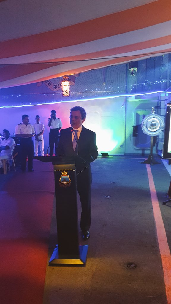 HE Jawed Ashraf, High Commissioner of India to Singapore speaking about the contribution of Indian Navy at the well-attended reception hosted at INS Kolkata on the occasion of 12th edition of IMDEX Asia-2019. Photo courtesy: Twitter@/IndiainSingapor