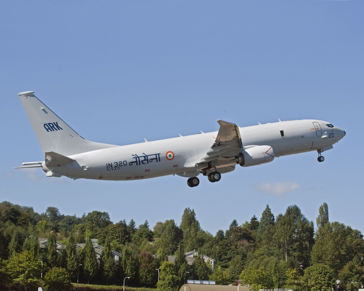 Indian Navy's long range maritime patrol and anti-submarine aircraft Poseidon P8I taking off from an unspecified naval base. Photo courtesy Manu Gomez, Twitter