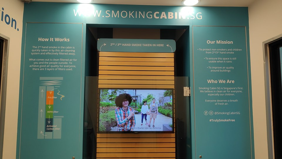 Inside portion of Smoking Cabin SG explaining the three-layer filtration system. Photo courtesy: Facebook page of Smoking Cabin SG