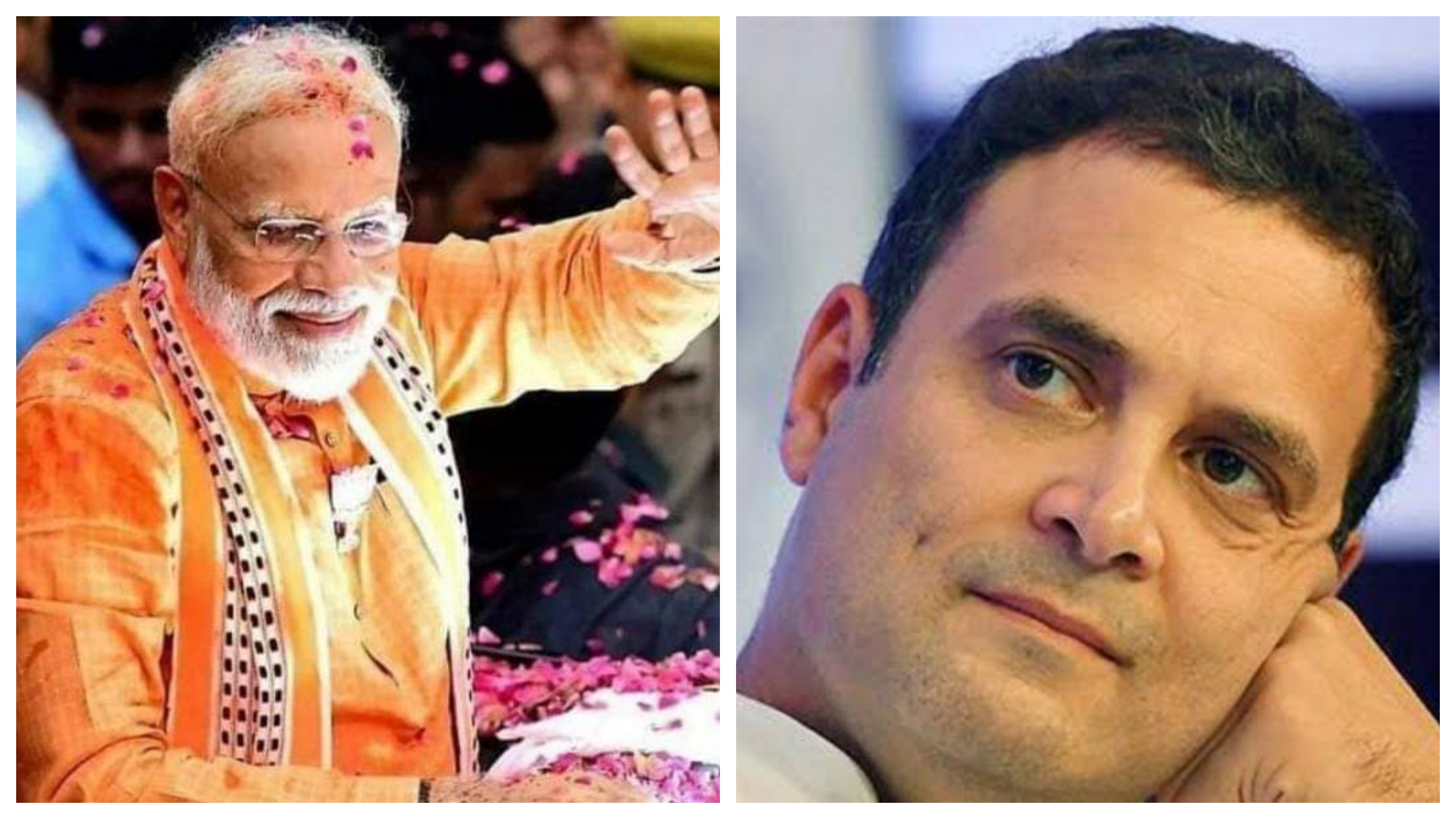 Contrasting fortunes: Indian PM Narendra Modi (left) looks set for another term in charge while Congress president Rahul Gandhi is trailing in his traditional safe seat of Amethi. Photo courtesy: Twitter